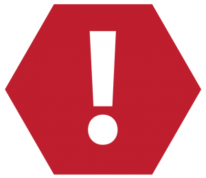 a hazard icon with an exclamation point